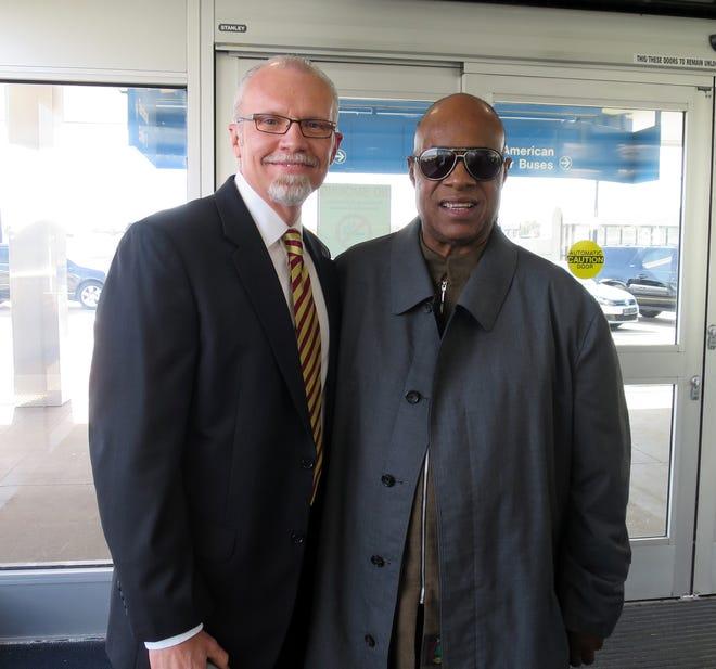 Kevin Eckhoff with Stevie Wonder in St. Louis. [Courtesy of Kevin Eckhoff]