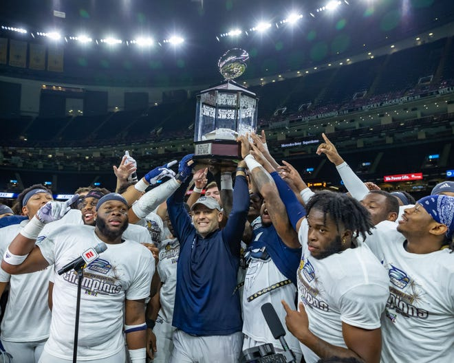 Georgia Southern head coach Chad Lunsford and the team defeated Louisiana Tech 38-3 on Wednesday, Dec. 23, 2020 in the New Orleans Bowl game.