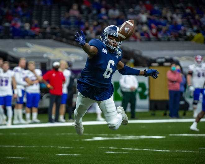 Georgia Southern's NaJee Thompson, a standout on special teams, tries to keep a punt out of the end zone against Louisiana Tech on Dec. 23 at the R+L Carriers New Orleans Bowl game. Georgia Southern won 38-3.