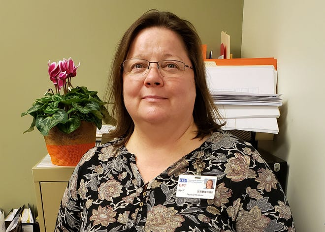 April Chitwood, physical therapist and clinical supervisor in the physical medicine and rehabilitation department at the Day Kimball Healthcare Center in Putnam, has been named employee of the month for November.