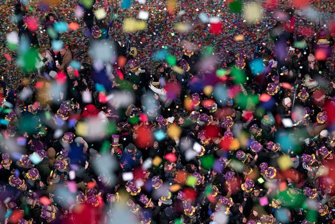 Revelers celebrate the new year as confetti flies over New York's Times Square as seen from the Marriott Marquis in 2017. (2017 file photo/The Associated Press)