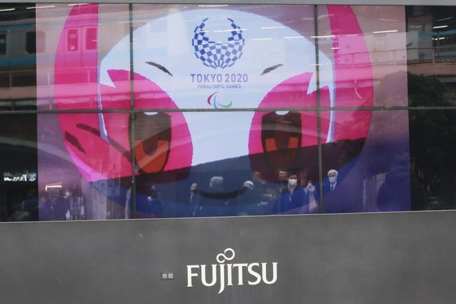 A TV monitor displays Tokyo 2020 Paralympic Games mascot Someity in Tokyo earlier this month.