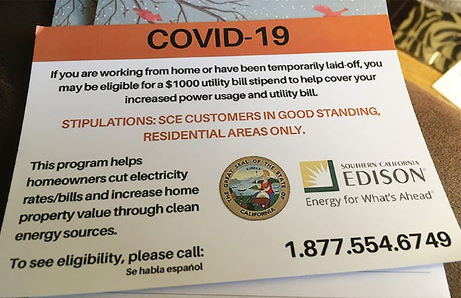 A copy of a postcard Southern California Edison says offers information about a fake COVID-19 relief program.
