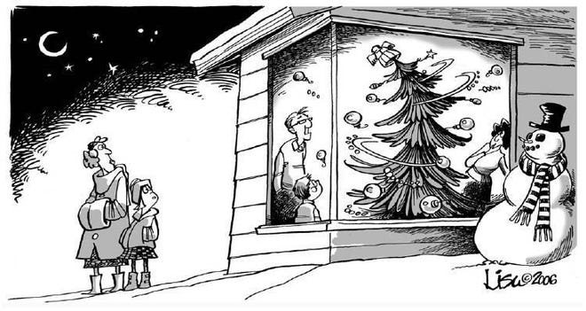 This Lisa Benson cartoon from 2006 depicts the Christmas story from Steve Williams' youth.