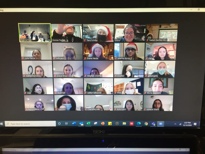 """On the afternoon of Monday, Dec.14, members of the H.O.P.E. (Helping Other People Everywhere) Club and Peer Ministry team met virtually on ZOOM with 17 Sisters of Mercy at Mount Saint Mary Academy in Watchung to spread some Christmas cheer. """"Juniors Sidra Al-Ktaish made up a series of Christmas trivia questions and Jerrine George also had some tidbits to add. The Sisters chimed in with some old stories and it ended with a song sung by all. We really had a nice time,""""said Donna Toryak, director of Admissions and H.O.P.E. Club advisor, in a news release."""