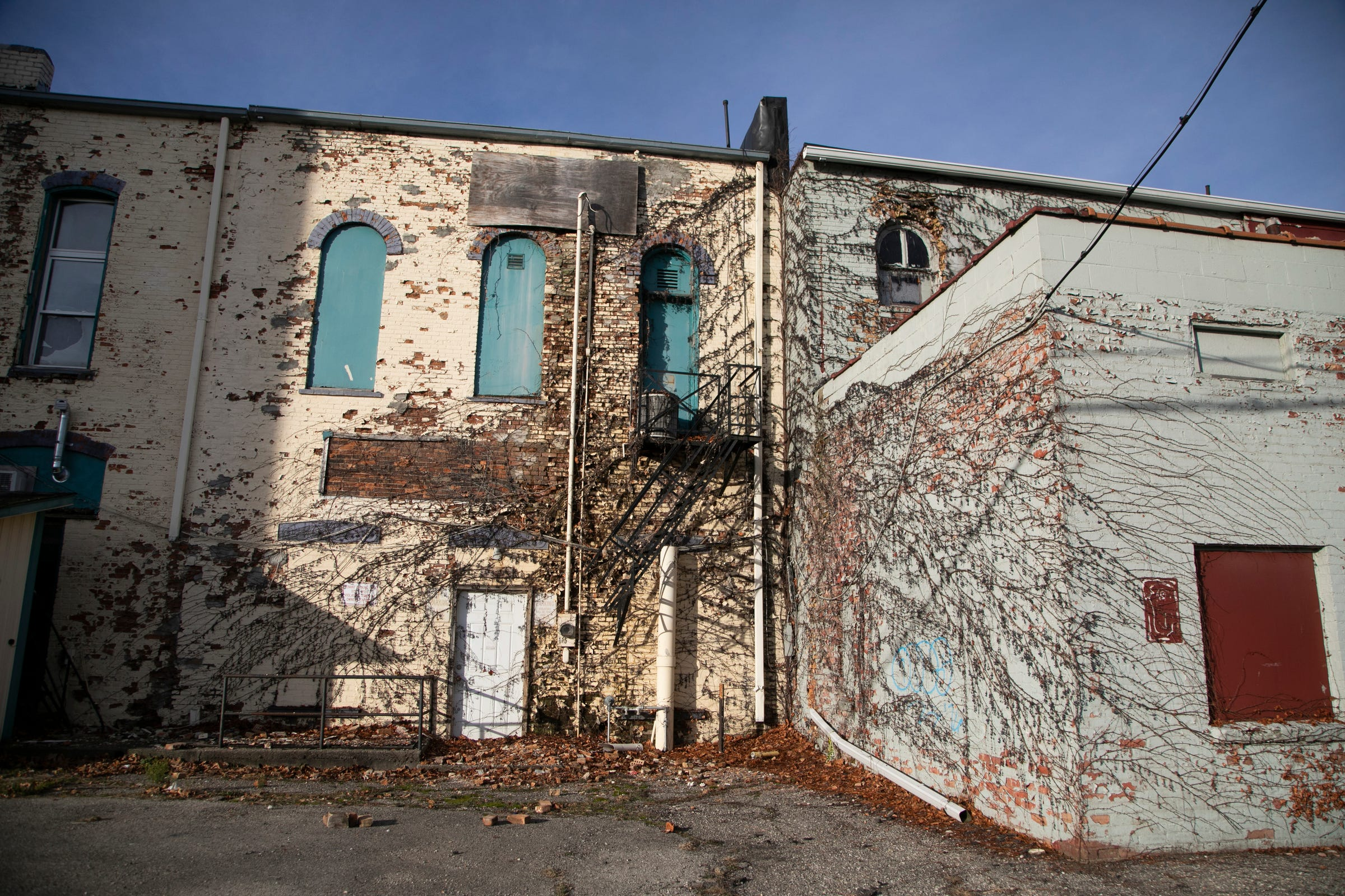 The backsides of some buildings that run along S. Superior St. in Albion. Photo taken in December.