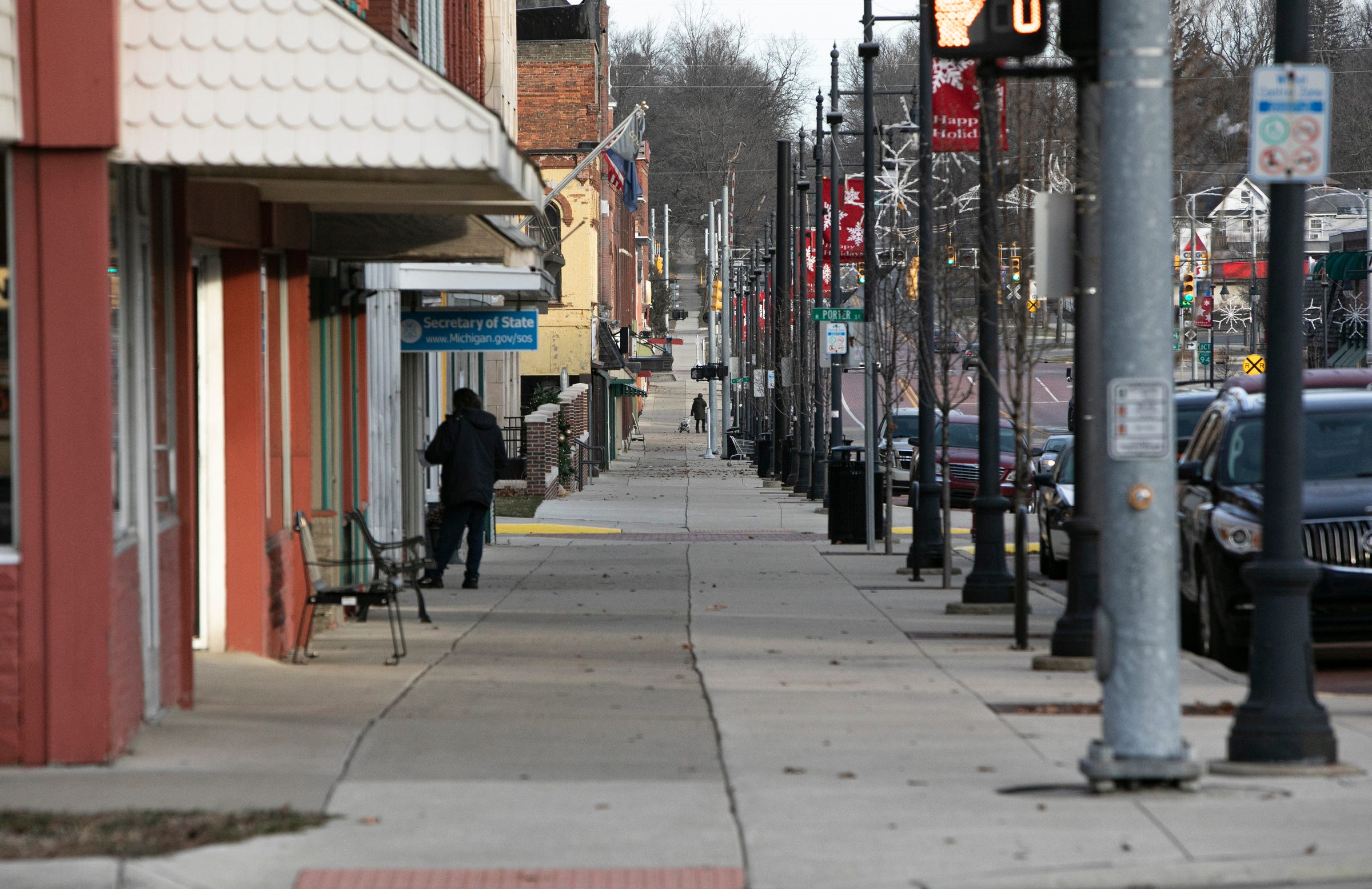 Downtown Albion in December.