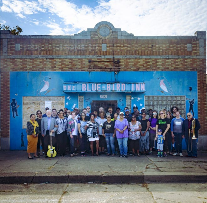 Members and friends of the Detroit Sound Conservancy gather outside the Blue Bird Inn at 5021 Tireman in Detroit in 2019.