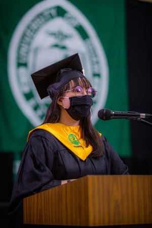 Maya D. Nanpei delivers her remarks as the University of Guam class of 2020 valedictorian during a streamed commencement ceremony on Dec. 27, 2020. She graduated with a bachelor's degree in English literature.