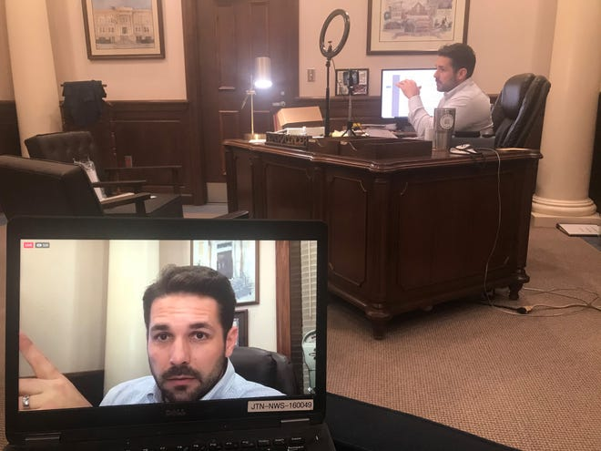 Jackson Mayor Scott Conger broadcasts his weekly Facebook Live conversation with the public in his office on Dec. 23, 2020.