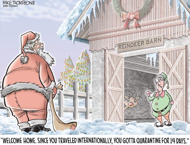 Santa returns home.