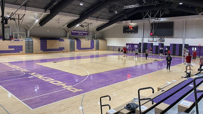 The New Mexico State men's basketball team holds a practice on the campus of Grand Canyon University in Phoenix, Arizona.
