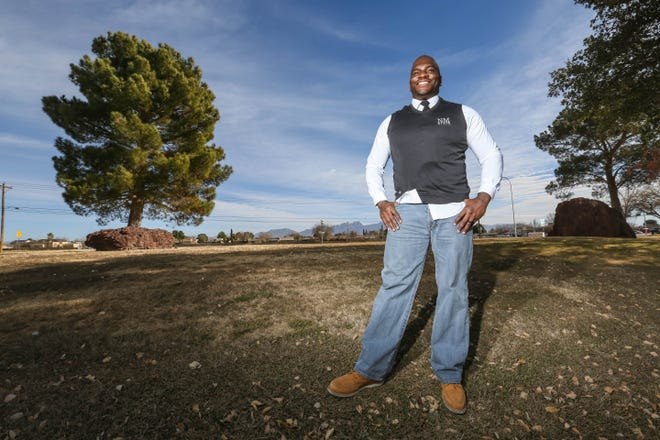 Jamar Cotton educates the community and responds to crises through the Doña Ana County Sheriff's Office. Pictured Wednesday, Dec. 23, 2020.