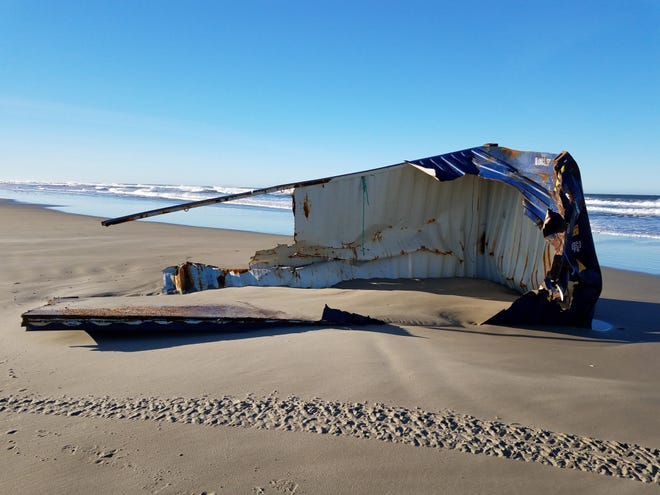 A piece of a shipping container washed onto a beach near Florence this week.