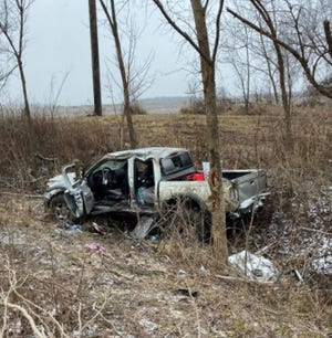 Two Plain City area teenagers died Thursday afternoon when the pickup truck they were in went off snow-slickened Route 33 and crashed into several trees, the Union County Sheriff's Office said. Neither of the victims was wearing a seat belt, the sheriff's office said.