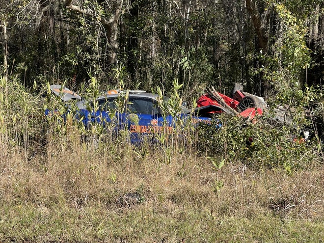 Scene of an accident in Liberty County where a high speed chase ended with a driver dead.