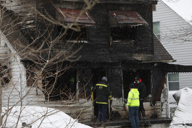 An early morning fire on Helen Street on Detroit's east side left two children dead on Friday, Dec. 25, 2020. Two other children were badly injured, while a woman holding another child escaped with minor injuries.