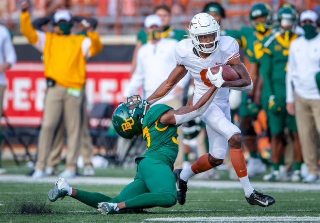 Texas wide receiver Joshua Moore started the season hot before cooling off over the past month. Still, he leads all UT receivers with his seven touchdown catches.