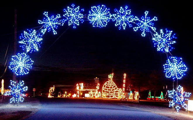 This file photo shows one of the more than 160 displays at the Ardmore Festival of Lights. On Christmas night volunteers from CASA of Southern Oklahoma were on site to direct visitors as they drove through.