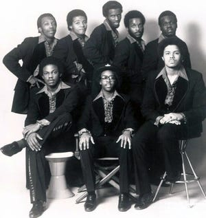 "Rare Experience, circa 1977, included, front left, Michael Otey, Reggie ""Wizard"" Jones and Winky Pettis; back row left, Maurice Otey, Bobby White, Sylvester Price, George Tyson and Buck Jackson."