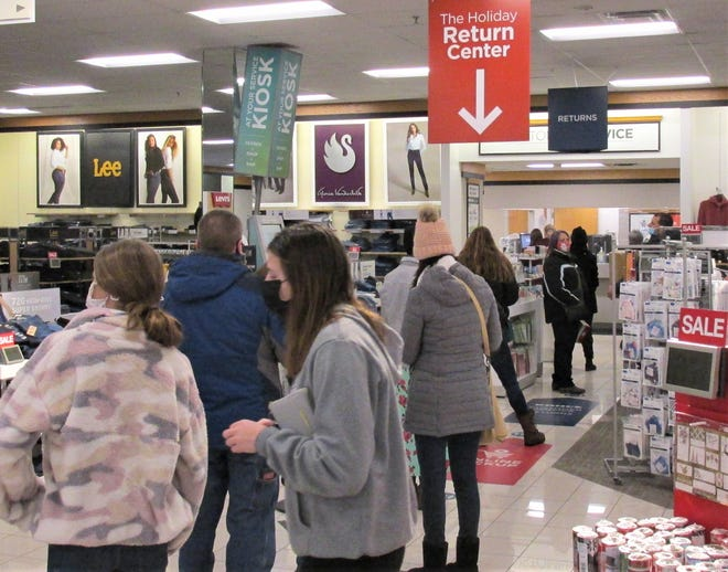 The line for gift returns at Kohl's Department Store in Wooster on Saturday was relatively short compared to previous years on the day after Christmas.