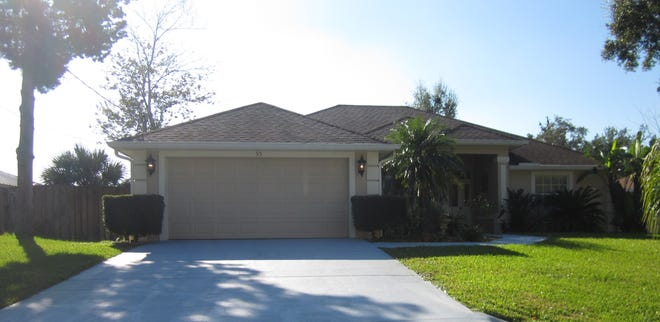 This house on Foster Lane has three bedrooms and two baths in 1,842 square feet of living space. Built in 2004, it also has a screened lanai, a patio, fruit trees, a backyard storage building and a fenced backyard, and it sold recently for $279,000.