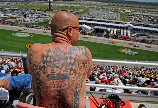 "This fan makes it clear via his tattoos that Dale Earnhardt is his favorite NASCAR driver. What does your ""Intimidator"" body art look like? Share it with us by emailing a photo and some details about it and you to Sports@news-jrnl.com."