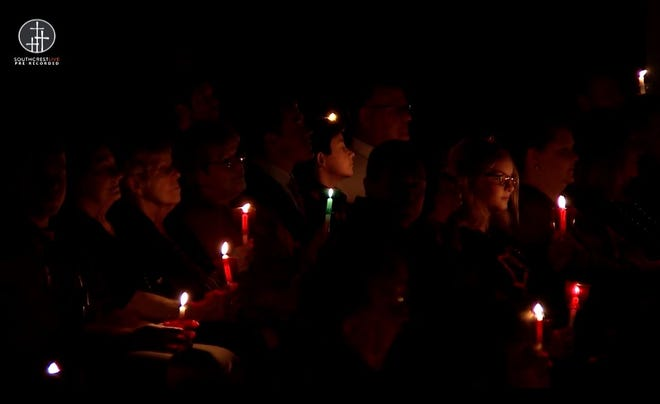 Southcrest Baptist Church hosted Christmas Eve services in its facility on South Loop 289 Thursday evening, complete with the singing of traditional Christmas hymns to candlelight.