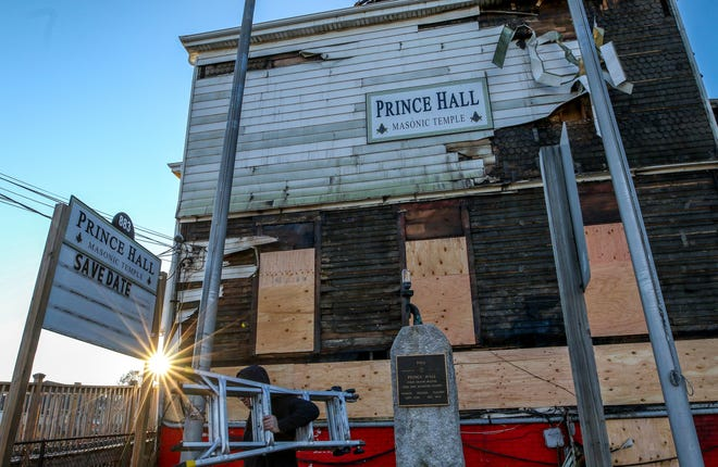 The charred remains of the historic Prince Hall Masonic Temple, at 883 Eddy St. in Providence, which was heavily damaged by fire on Christmas Day.