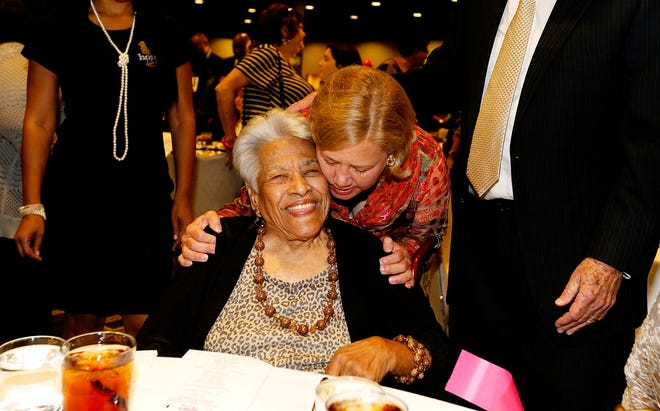 A popular chef has released his spin on late Chef Leah Chase's famous gumbo recipe. Chase is seen here, left, in 2014 with U.S. Sen. Mary Landrieu (D-LA),