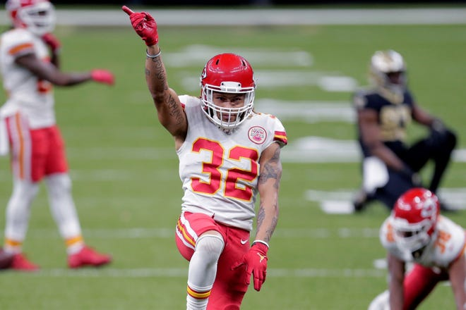 Kansas City Chiefs safety Tyrann Mathieu (32) reacts after a pass breakup during last week's game in New Orleans. The Chiefs can clinch the No. 1 seed in the AFC on Sunday with a victory over the Atlanta Falcons.