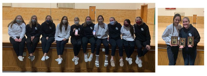 St. Mary's football cheerleaders received awards recently.