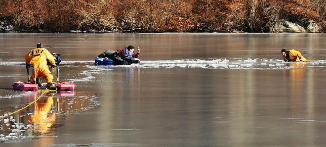 A rescue on Rocky Pond in Boylston Feb. 17, 2020.