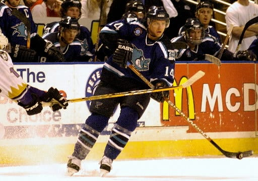 IceCats forward Blake Evans handles the puck during the 2004 Calder Cup playoffs.