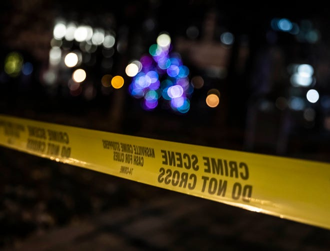 Crime scene tape blocks off Public Square following the explosion on Second Avenue Friday, December 25, 2020.