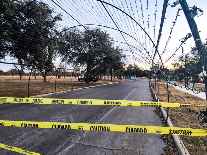 The tunnel into the Concho Christmas Tour of Lights sustained damage Friday, Dec. 25, 2020.