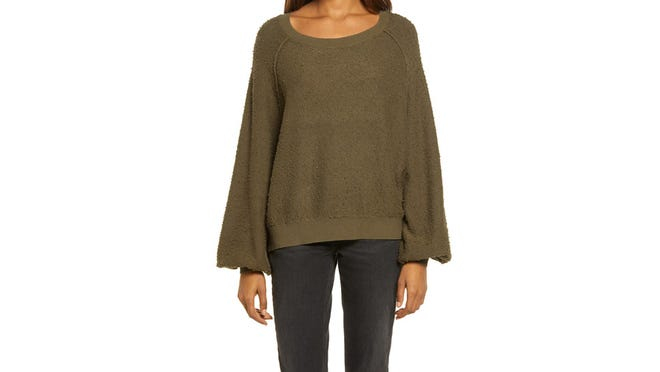 This comfy lounge sweater comes in an array of colors.