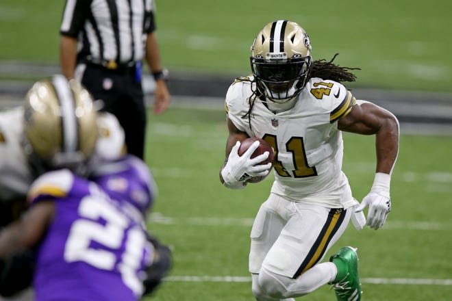 Saints running back Alvin Kamara tied an NFL record by scoring six touchdowns in a game and finished with a career-high 155 yards rushing Friday against the Vikings. He probably led many fantasy managers to league championships.