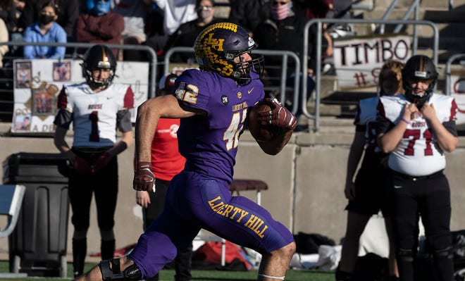 Liberty Hill running back Blake Simpson races toward the end zone during a 56-42 win over Rouse in a Class 5A Division II regional semifinal held at Kelly Reeves Athletic Complex Saturday. Simpson had 325 rushing yards in the victory.