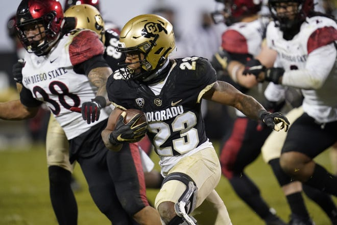 Colorado running back Jarek Broussard, a native of Dallas, was selected as the Pac-12's offensive player of the year this season.