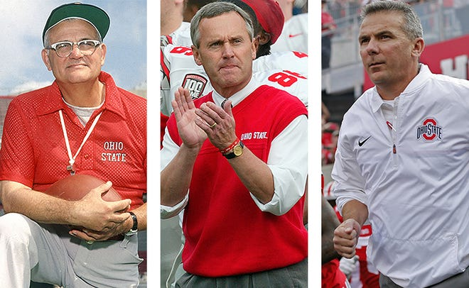 Ohio State football coaches, from left: Woody Hayes, Jim Tressel and Urban Meyer