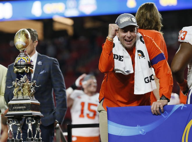 Clemson coach Dabo Swinney celebrates the Tigers' win over Ohio State in a College Football Playoff semifinal last December in Glendale, Arizona.