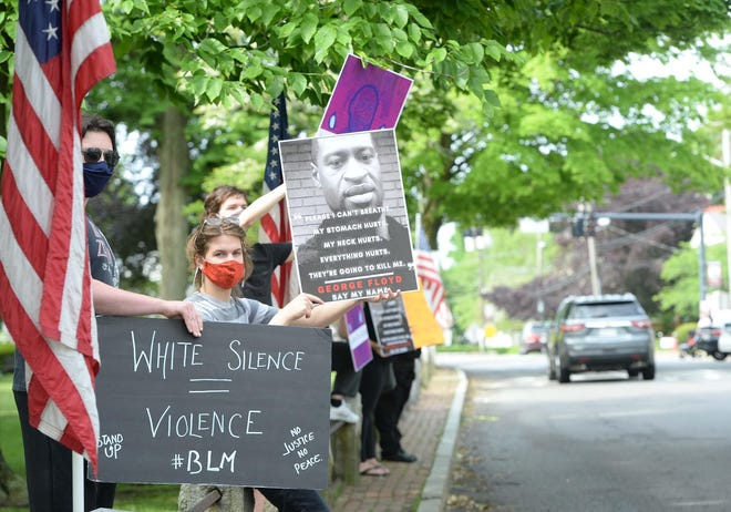 The Bridgewater Citizens For Civility & Respect hosted a standout on Central Square on Saturday May 30, 2020. It was organized in response to the the killing of George Floyd in Minneapolis, Minnesota.