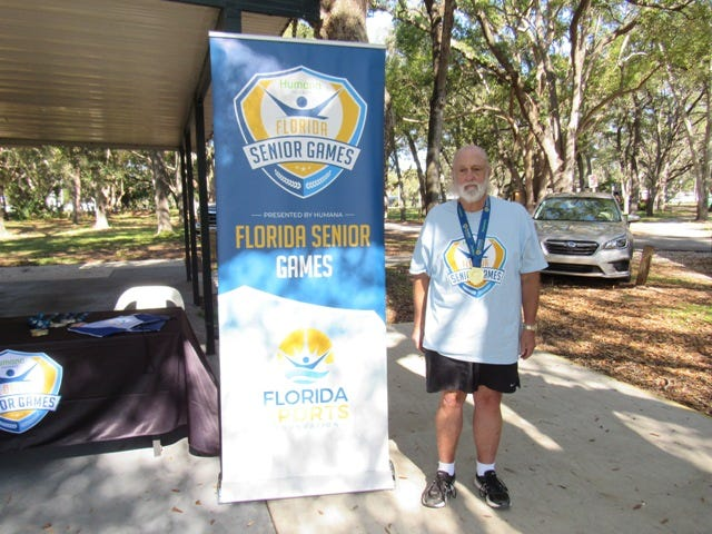 Robert Yost is a three-time Florida Senior Games horseshoes champion in his age bracket.