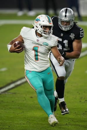 Dolphins quarterback Tua Tagovailoa was replaced in the win over the Raiders last week by Ryan Fitzpatrick, but he won't have help against the Bills.