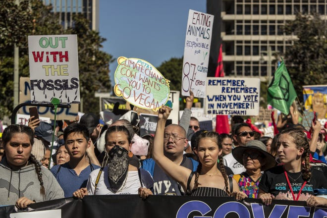 Activists and Youth Climate Strike Los Angeles, part of the Fridays For Future movement, take to the streets for a march around the downtown area in Los Angeles on Nov. 1, 2019.