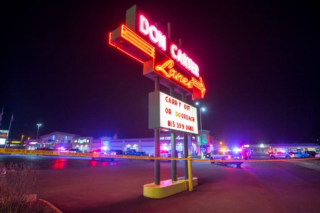 Rockford police and other law enforcement agencies investigate a shooting at Don Carter Lanes on Saturday in Rockford that left three people dead and three others wounded. A 37-year-old man was taken into custody in connection to the shooting.
