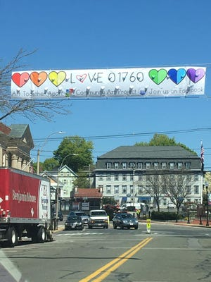 """Over most of 2020, the Natick Center Cultural District sponsored a """"Love 01760"""" campaign featuring artwork supporting fellow artists and first responders."""