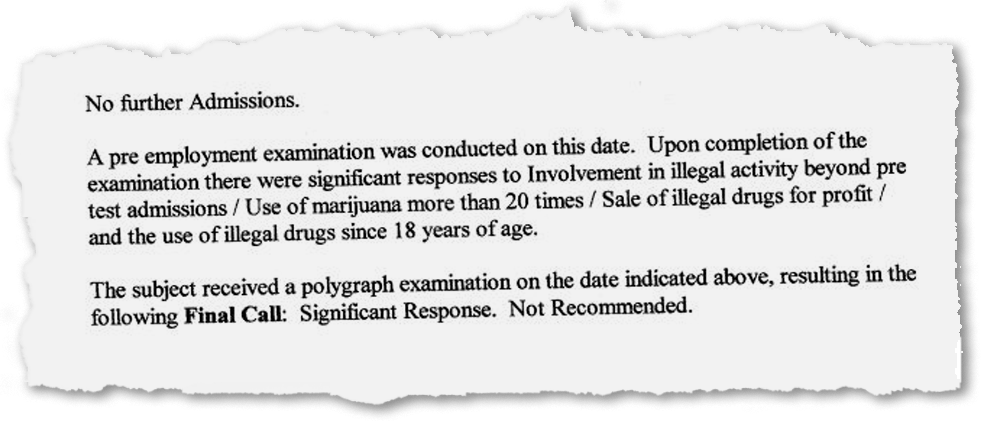 """A polygraph report completed by the Collier County Sheriff's Office in 2003 states that an examiner detected """"significant responses"""" from Matthew Vandetti in response to questions about involvement in illegal activities, use of marijuana more than 20 times, sale of illegal drugs for profit and use of illegal drugs after he turned 18."""