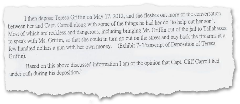 A memo written in 2012 by a prosecutor in the Second Judicial Circuit documents concerns about then-Wakulla County deputy Clifford Carroll. The prosecutor believed Carroll lied under oath and may have been involved in witness tampering and attempting to influence an investigation. Carroll retired in 2015. The Franklin County Sheriff's Office hired him in 2017.